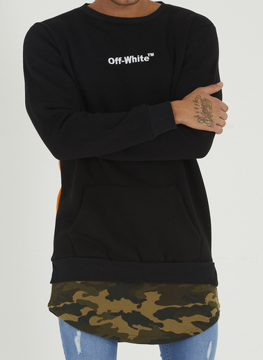 XHAN Gri Kamuflaj Detaylı Baskılı Sweatshirt 1Kxe8-44364-03 Siyah